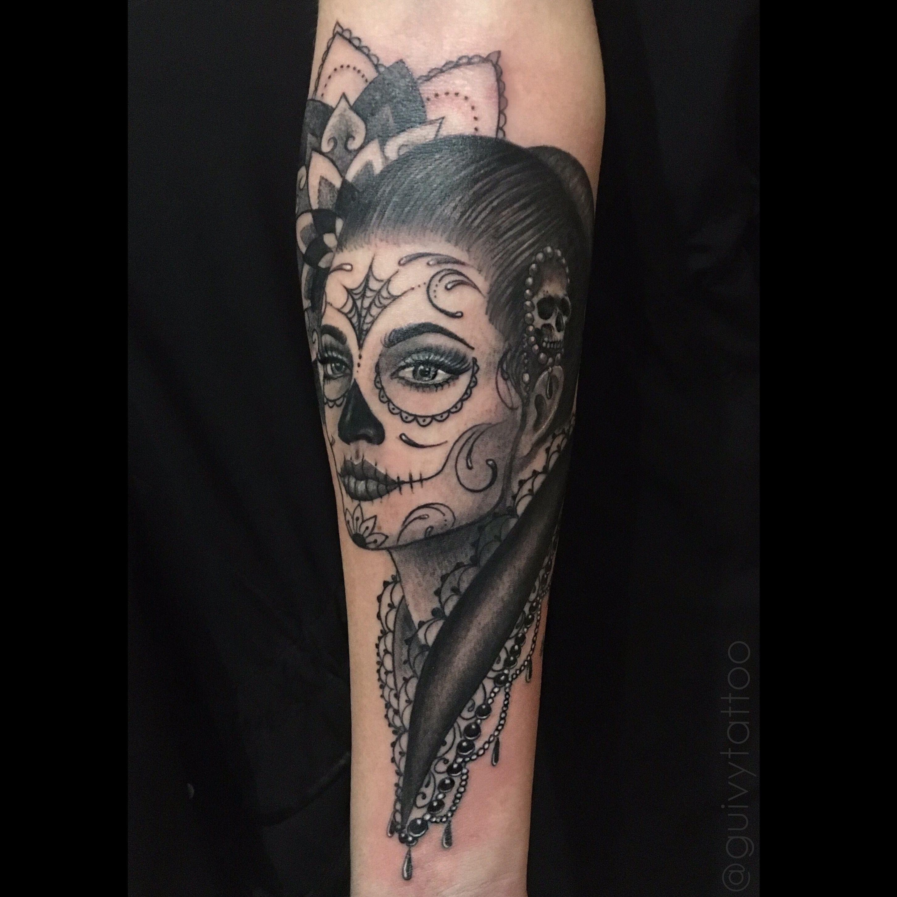 1812f3a2cb483 #guivy #art for sinners #tattoo #geneva #geneve #switzerland #catrina  #portrait #realism #dayofthedead #santamuerte #girly #hairstyle #red  #feminin #mandala ...