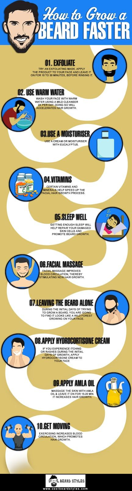 Learn How to Grow a Beard Faster? Follow the top 10 tips to grow a thicker beard super fast at home and the products needed. #beardfashion