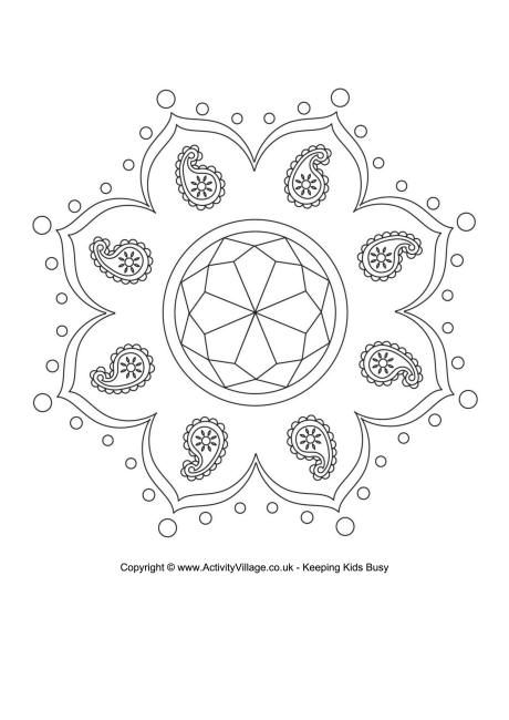 Rangoli Colouring Page 8 Rangoli Designs With Dots Pattern