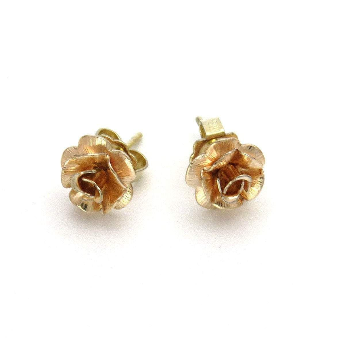 Rose Gold Filled Tea Rose Flower Stud Earrings Flower Earrings Studs Flower Studs Stud Earrings