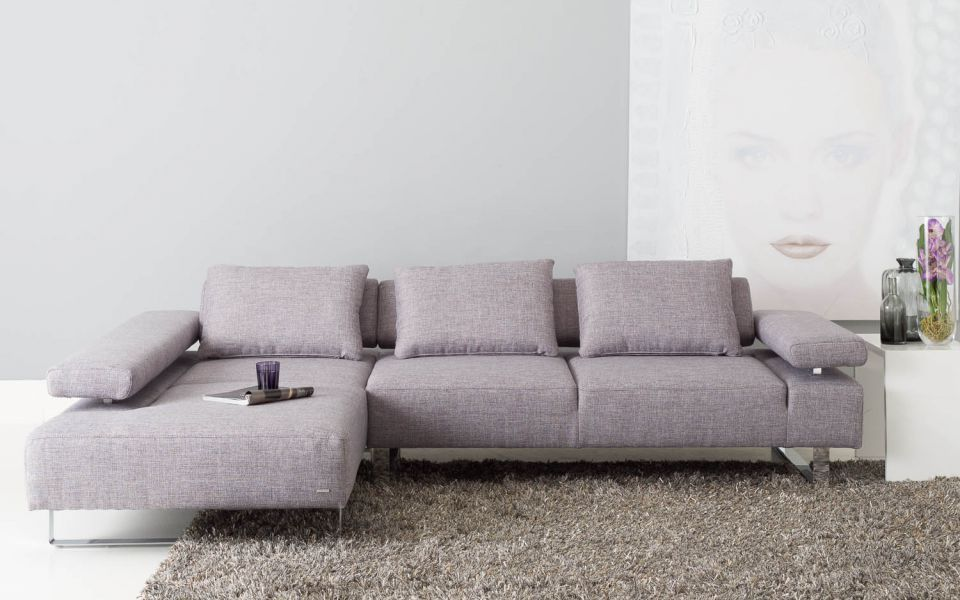 Met dit moderne 2 5 zits meubel met chaise longue volgens italiaans design kunt u gezien worden - Eetzaal grijze moderne ...