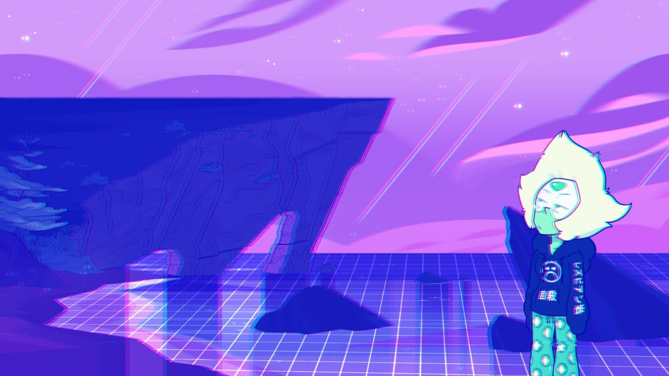 Black And White Wooden Table Vaporwave Steven Universe Peridot Faded 720p Wallpaper Hdwallpaper Desktop In 2020 Steven Universe Wallpaper Vaporwave Hd Wallpaper