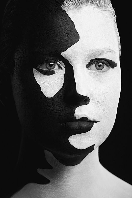 Weird beauty portraits abduzeedo paint a person so they look like a stencil