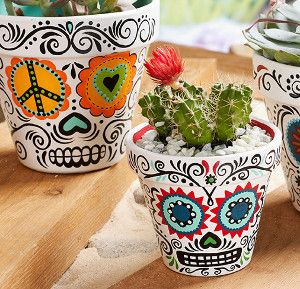 these day of the dead daisy planters are so trendy, they're sure