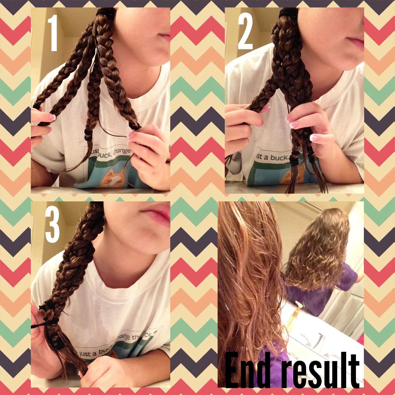 Curly Hair Tutorial For Wet Hair 1 Put Hair In Three Separate Braids When Hair Is Wet 2 Leave In Overnight 3 Wavy Hair Overnight Wavy Hair With Braid Face Hair