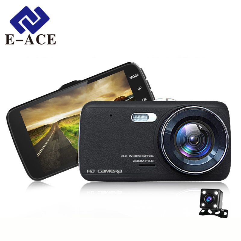 E-ACE Car DVR Camera Dual Lens With LDWS ADAS Rear View Front Car Distance Warning Full HD 1080P Night Vision Automobile Dashcam