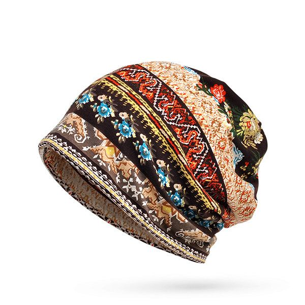 57b25f754af Cotton Print Stripe Beanie Hats Casual Outdoor For Both Hats And Scarf Use