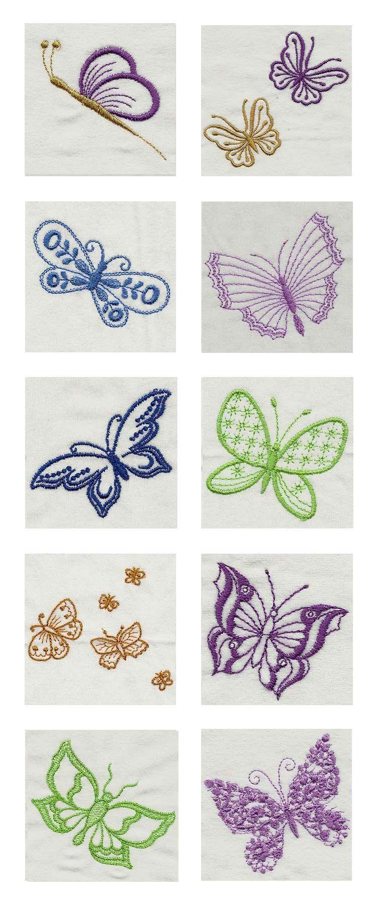 Fluttery Butterflies 2 Embroidery Machine Design Details | mariposas ...