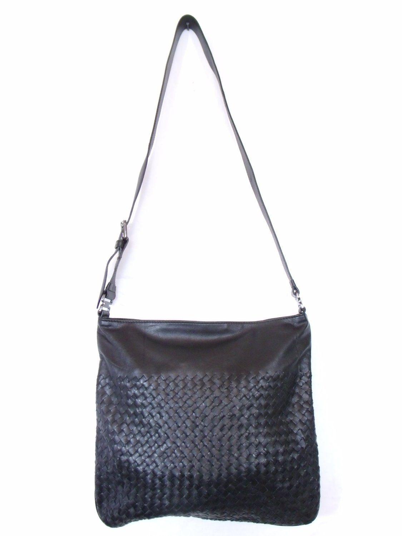 BESSO Black Woven Leather Luxury Italian Shoulder Bag Satchel Purse ... da996fa197c12