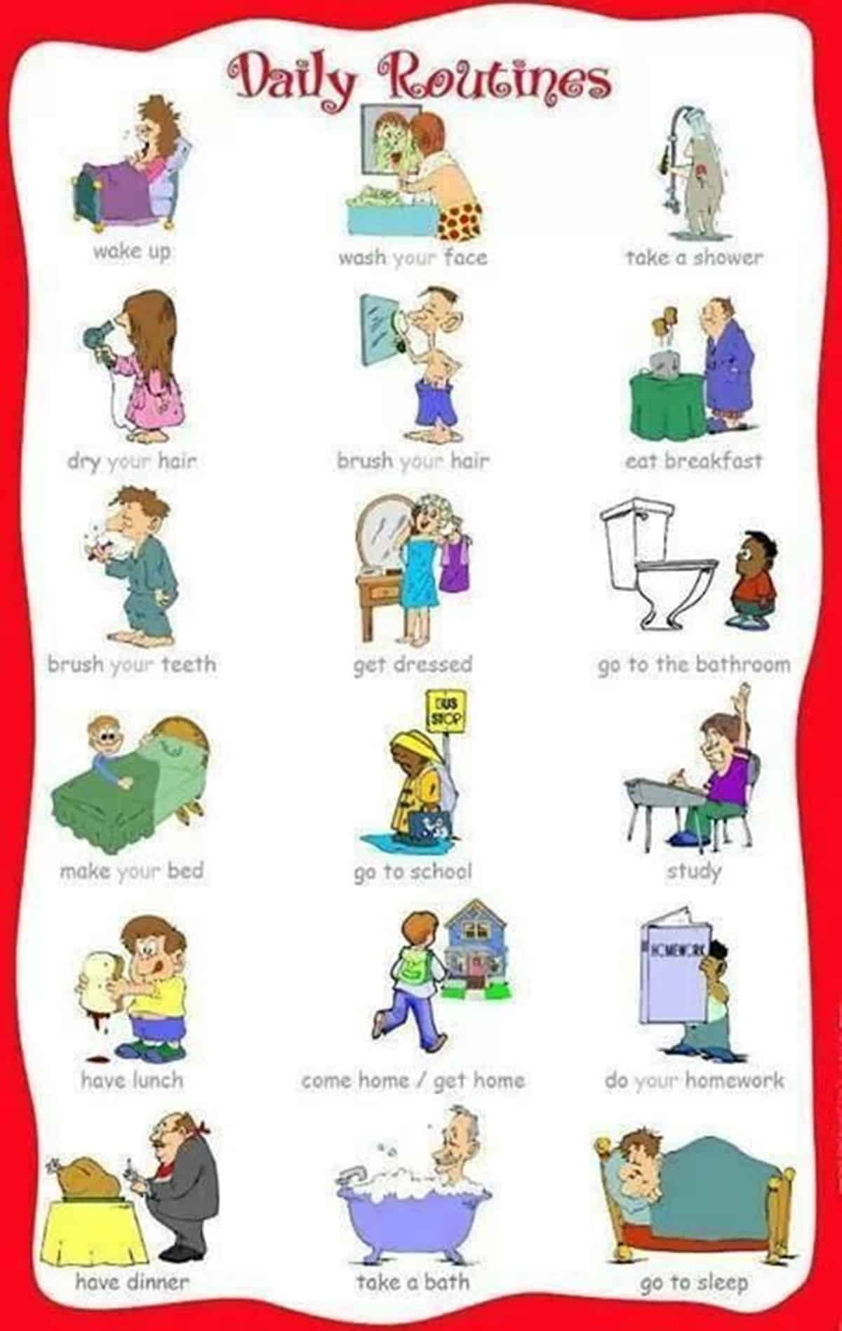 Daily Routines And Household Chores Vocabulary In English Eslbuzz Learning English Kids English Learn English English Vocabulary