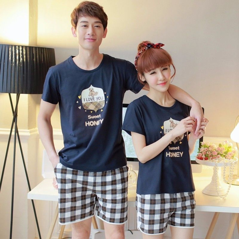 2PCS Mens Pajamas Sets Short Sleeve Floral T Shirt Shorts Sleepwear Homewear Set