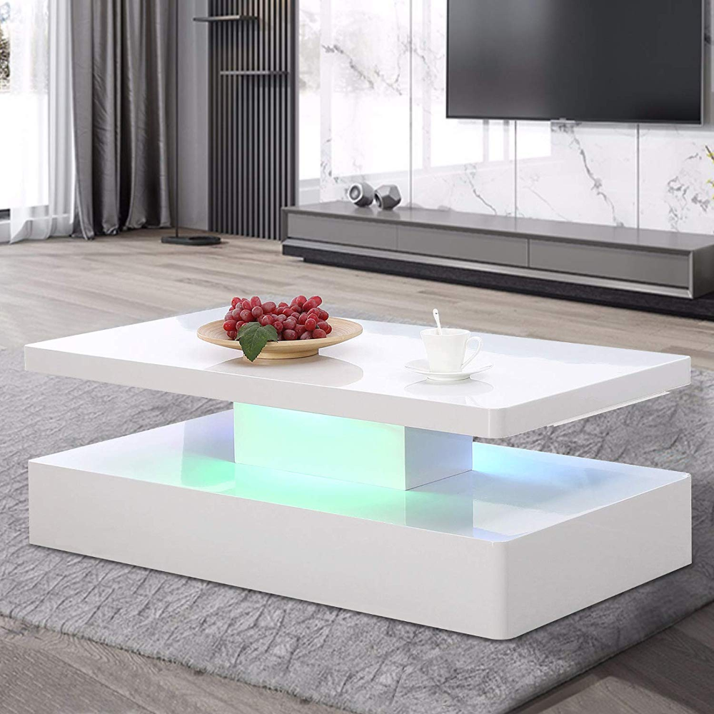 Amazonsmile Mecor Modern Glossy White Coffee Table W Led Lighting Contemporary Rectangle Furniture Design Living Room Remote Control Living Room Coffee Table [ 1000 x 1000 Pixel ]