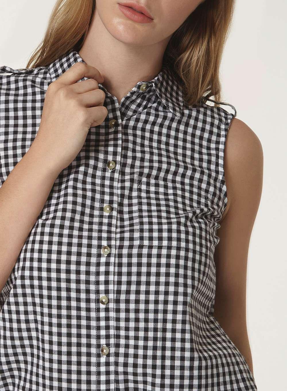 297c0125 Sleeveless Gingham Shirt | Gingham Shirts and Tops | Gingham shirt ...