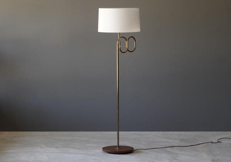 Bohlmarks Adjustable Floor Lamp Brass Elm Fabric Sweden 1940s For Sale At 1stdibs Adjustable Floor Lamp Gooseneck Floor Lamp Fabric Floor Lamp
