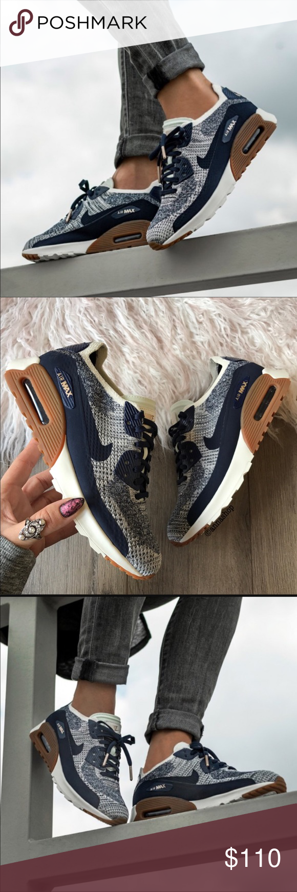 free shipping f451a 72e2b NWT Nike air max Ultra Flyknit blue rose gold Brand new no box, price is  firm!It doesn t get much better than the classic Nike Air Max 90, or does  it