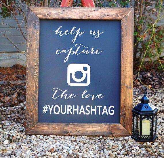 Wedding Signage Ideas: Wedding Hash Tag Sign Decals