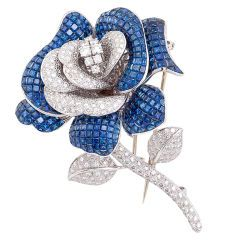 Amazing Sapphire Diamond Gold Rose Brooch