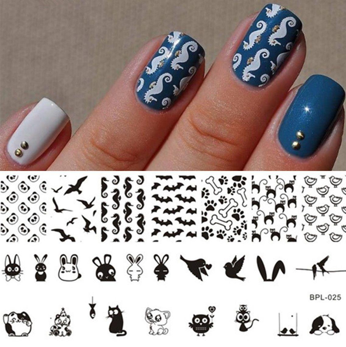 BORN PRETTY Nail Stamping Image Plate Nail Art Stencils Template ...
