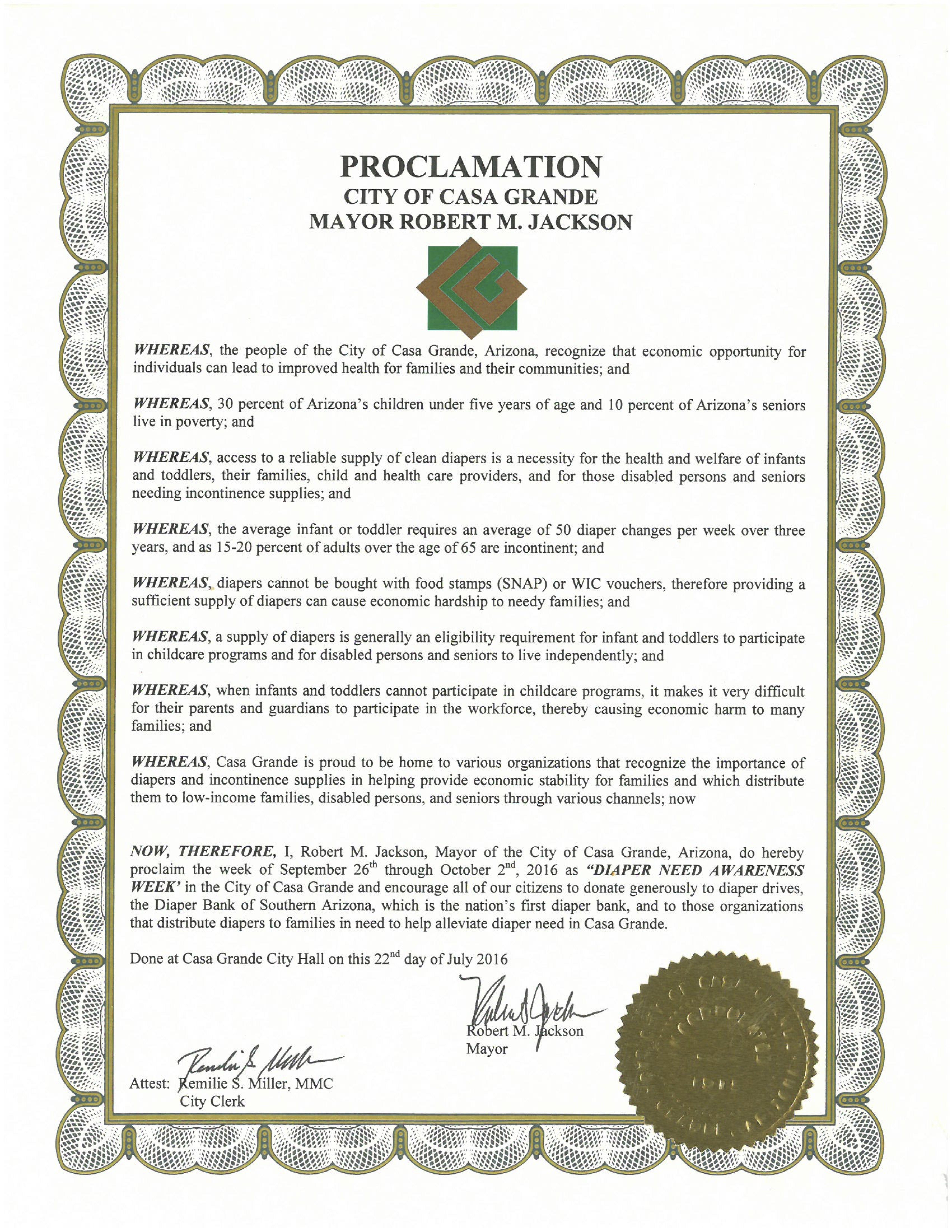 CASA GRANDE, AZ - - Mayoral proclamation recognizing Diaper Need Awareness Week (Sep. 26 - Oct. 2, 2016) #diaperneed diaperneed.org