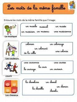 les mots de la m me famille education de base apprendre le fran ais learning french for. Black Bedroom Furniture Sets. Home Design Ideas