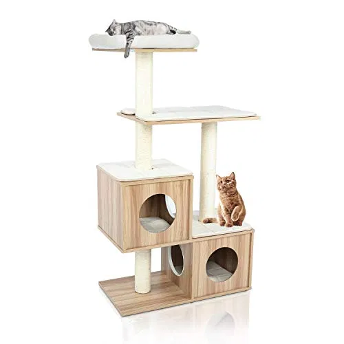 Potby 54 4 Levels Wooden Modern Cat Furniture Cat Tower With 2 Condo Best Offer Petsep Com In 2020 Modern Cat Furniture Modern Cat Cat Furniture