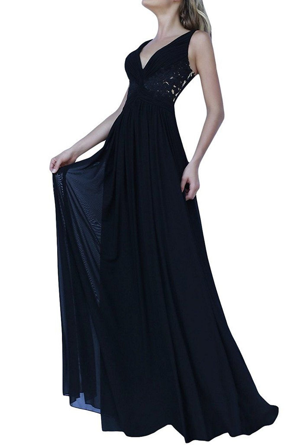Ivydressing chiffon and lace aline deep vneck long gowns party