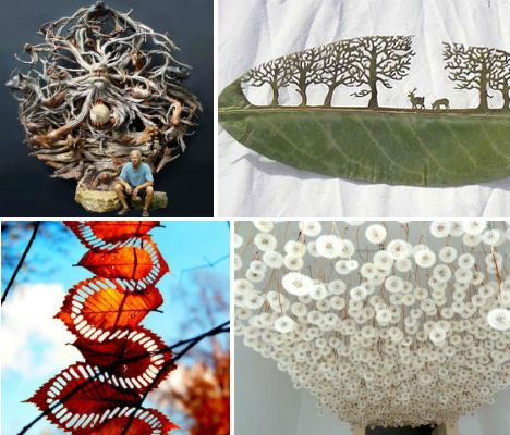 Leaves, driftwood, pine cones, dandelions and moss take the place of paper, paint and other manufactured materials in these incredible works of art. From d