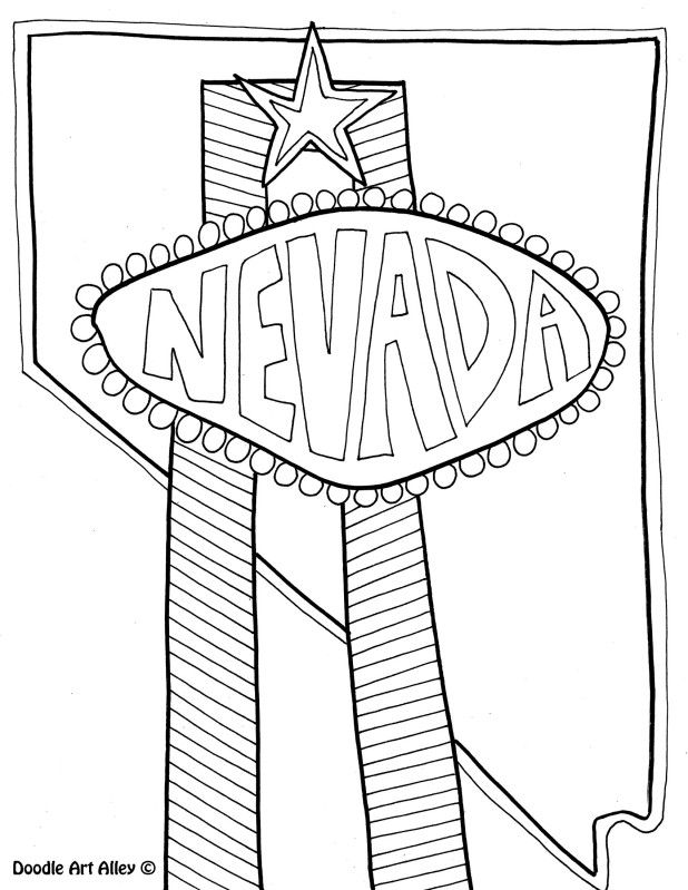 Nevada Coloring Page By Doodle Art Alley Doodle Art Colorful