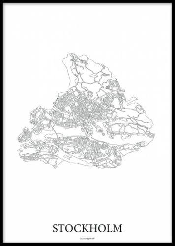 Svartvit Poster Med Karta Over Stockholm Maps City Stockholm