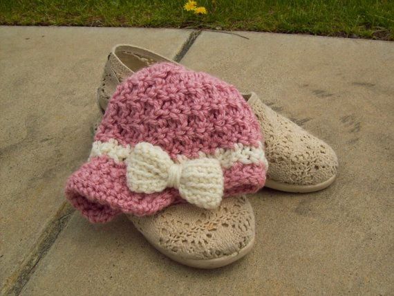 Brimmed Baby Hat  Crochet Vintage Style Beanie by MalanCrochetions, $25.00