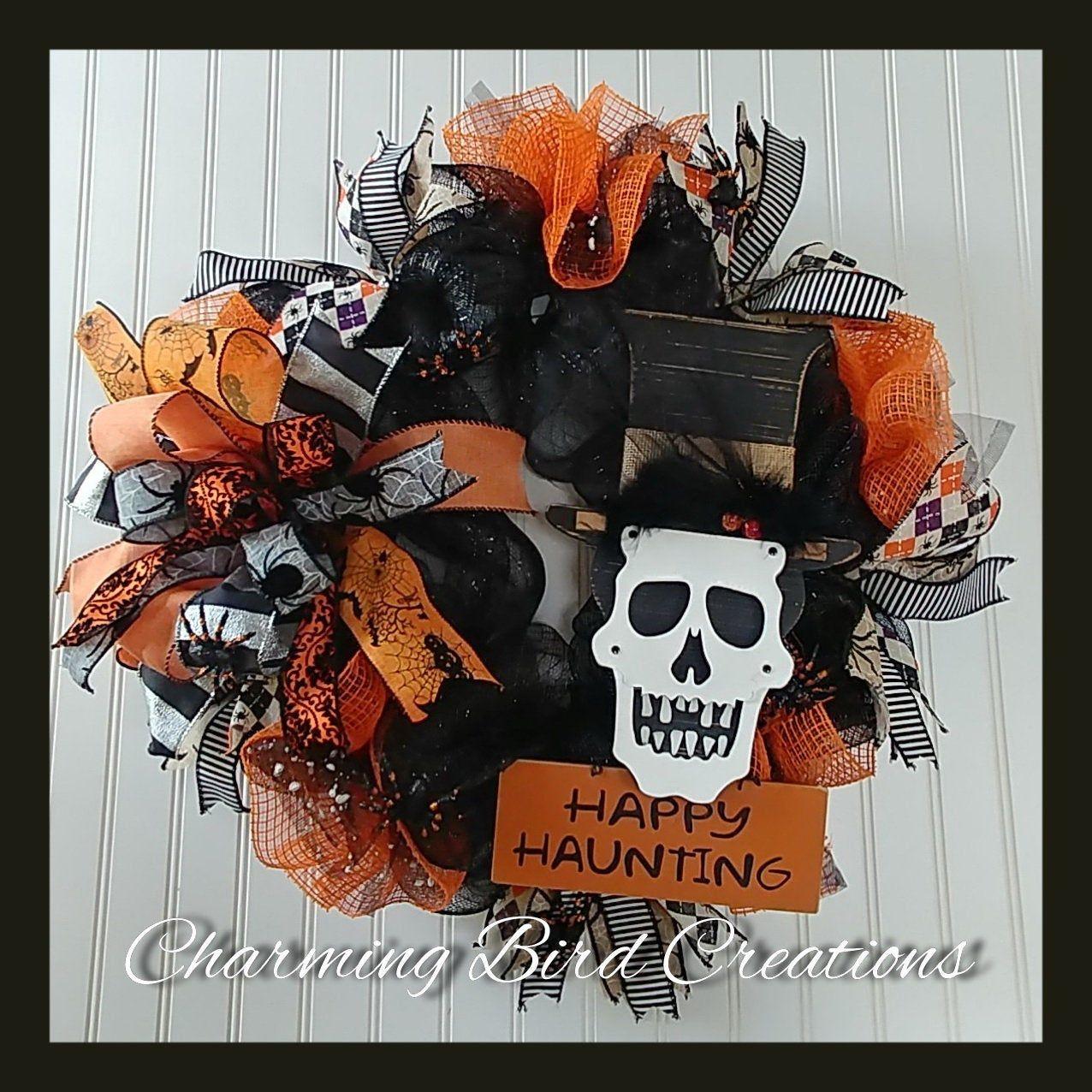 Halloween Wreath,Halloween door decor,Halloween decor,Happy Halloween Wreath,Halloween mesh Wreath,Halloween Welcome Wreath,Skull Wreath.