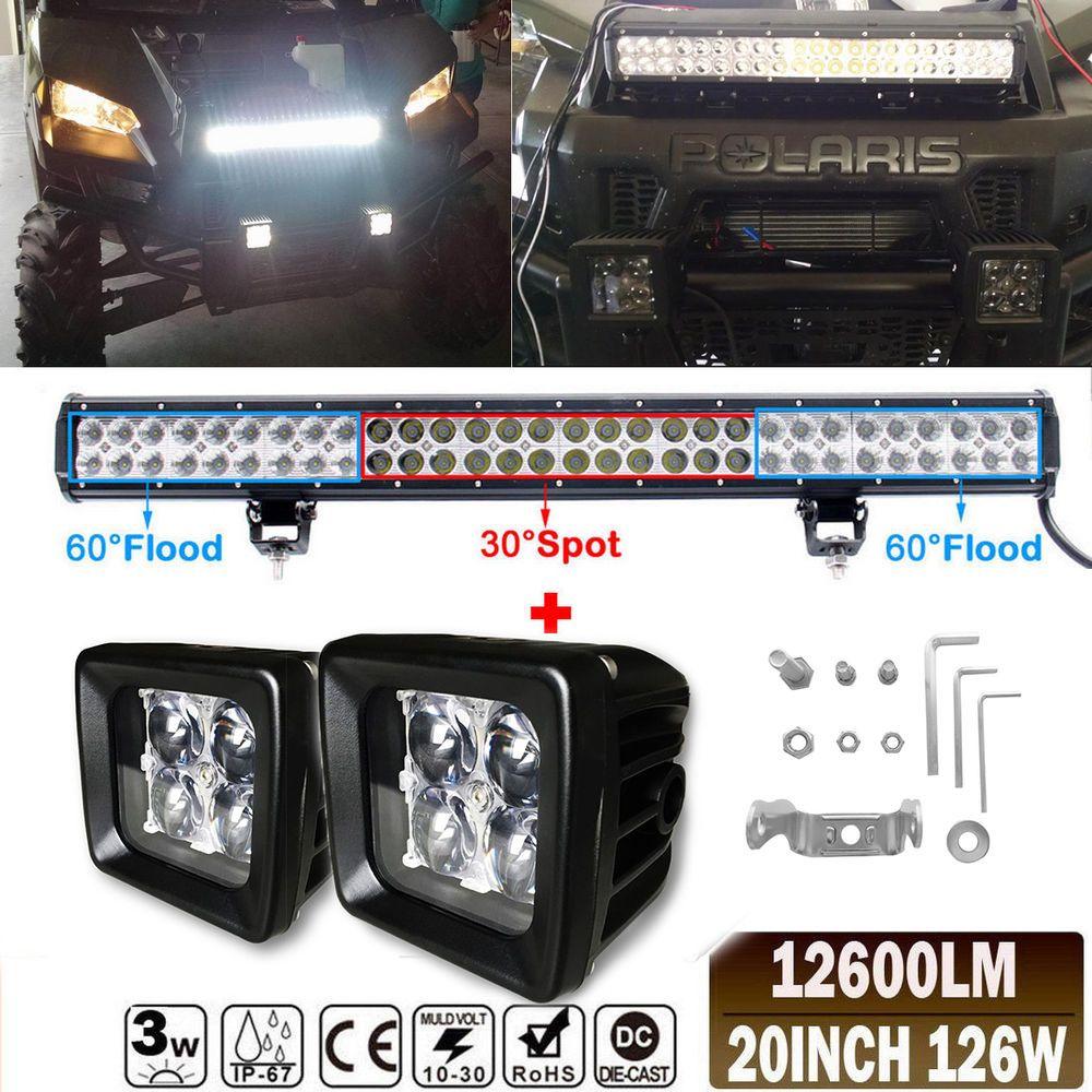 20 126w Led Light Bar Polaris Xp1000 Xp900 800 Ranger Rzr Rzr4 Can Am Maverick New Bar Lighting Led Lights Led Light Bars