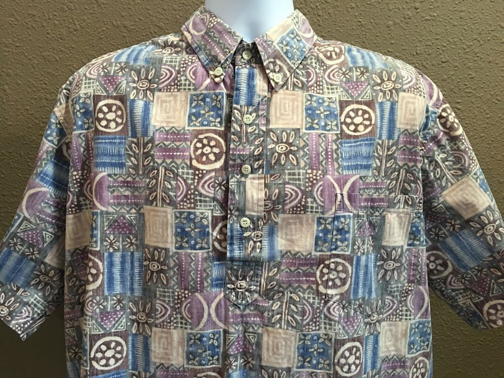 Reyn Spooner Hawaiian Shirt Reverse Print Partial Button Down Sz 2XL ...