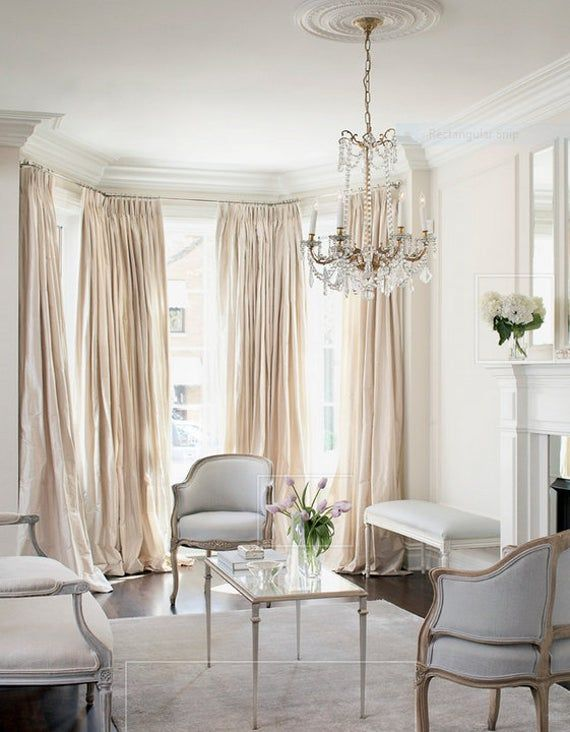 Pleated window curtains. faux dupioni silk, drapes champagne color, French pleat drapes, pinch pleats, faux silk