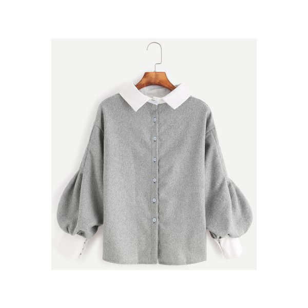 19c51cc012f695 SheIn(sheinside) Contrast Trim Lantern Sleeve Button Back Blouse (£12) ❤  liked on Polyvore featuring tops