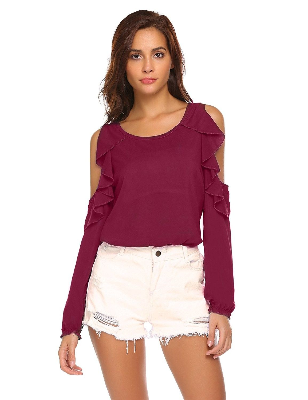 b252ae1042336 Women Chiffon Blouse Cold Shoulder Ruffle Long Sleeve Tops - Wine Red -  CL189X5C0AA