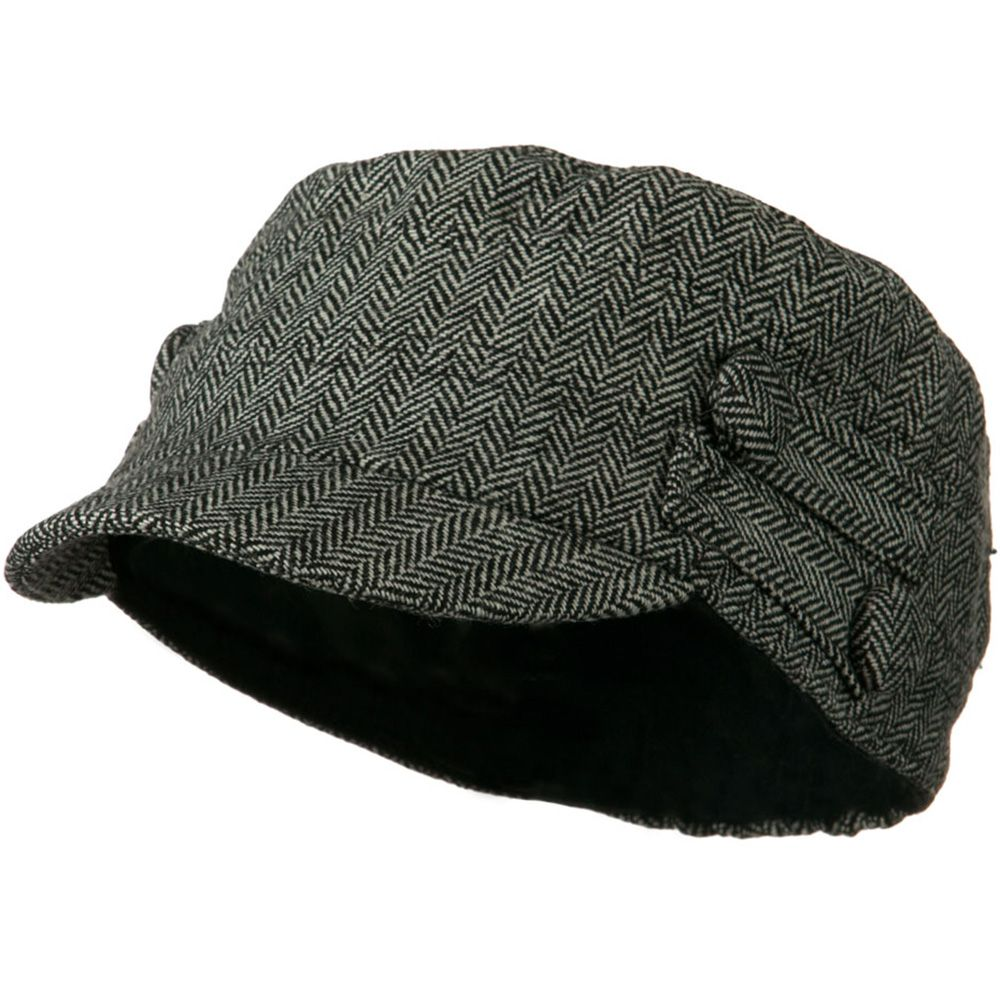 Tweed Military Cadet Cap with 4 buttons - Black White