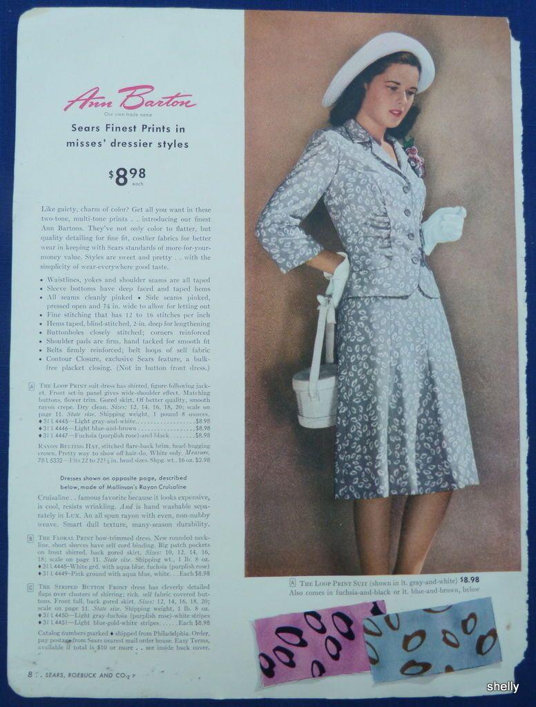 dacdb999e0e Womens Spring Summer Dresses Easter Clothing Original Vintage 1940s Sears  ADS