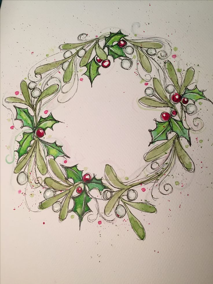 Photo of Watercolor Christmas wreath card. Holly and mistletoe