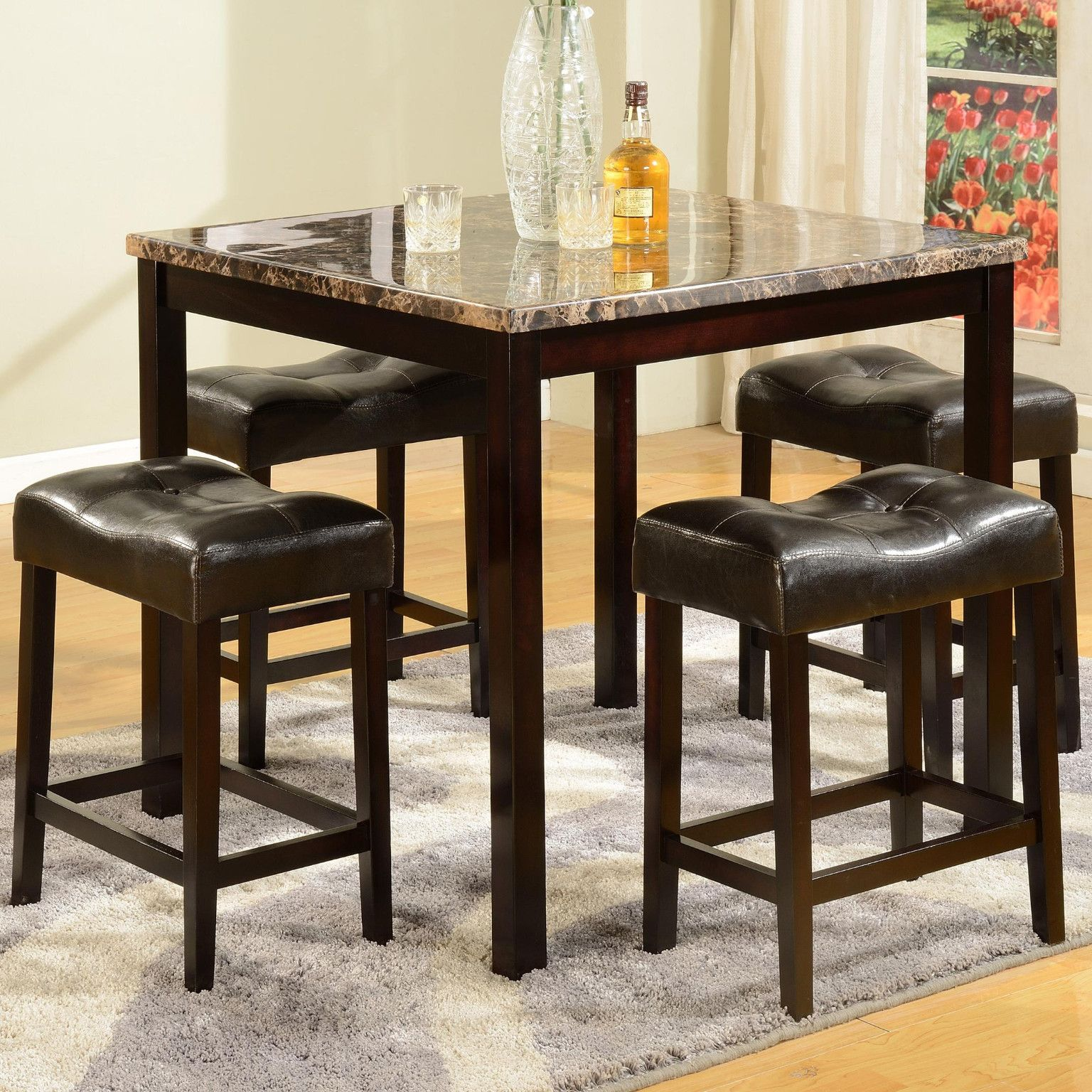 Kinsey Marble Finish Counter Height Table And 4 Bar Stools 29900 36 X