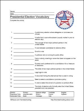 presidential election printables wordsearch crossword and more worksheets social studies. Black Bedroom Furniture Sets. Home Design Ideas