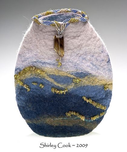 Horizon Vessel | Hand wet-felted vessel, beadwoven collar, a… | Flickr
