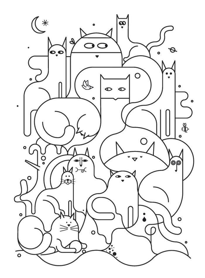 gaticos de Jonathan Calugi   PARA COLOREAR   Pinterest   Mandalas ...