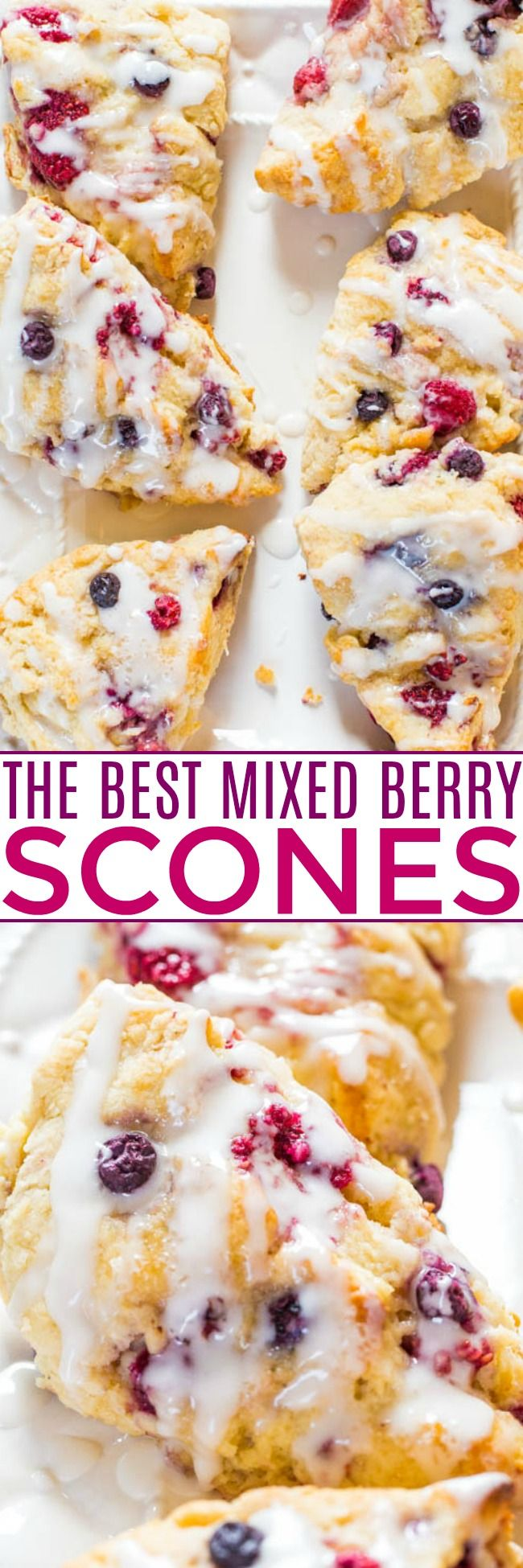 The BEST Scone Recipe (Glazed Mixed Berry Scones) - Averie Cooks