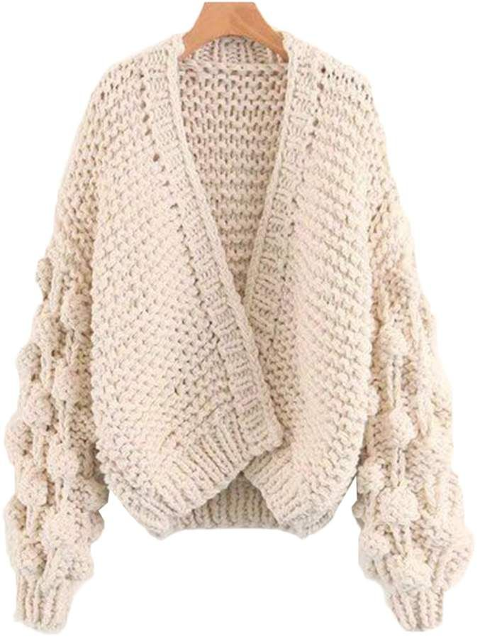 275655cc92e2a4 Goodnight Macaroon  Abbey  Hand-knitted Pom Pom Sleeve Chunky Cardigan -  Cream White