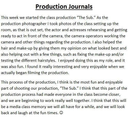 Production Journal Entry 3