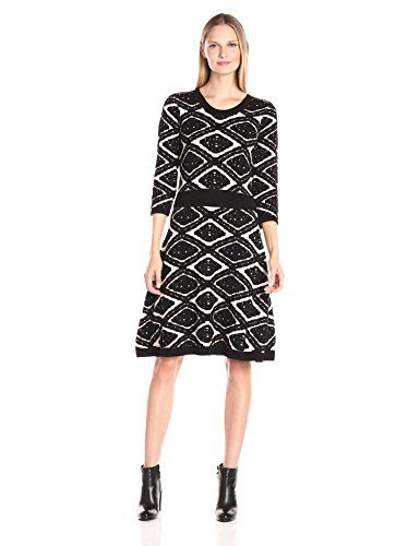 7215d202988 Taylor Dresses Womens Diamond Jacquard Fit and Flare Sweater Knit Champagne  Black M -- Click image to review more details.