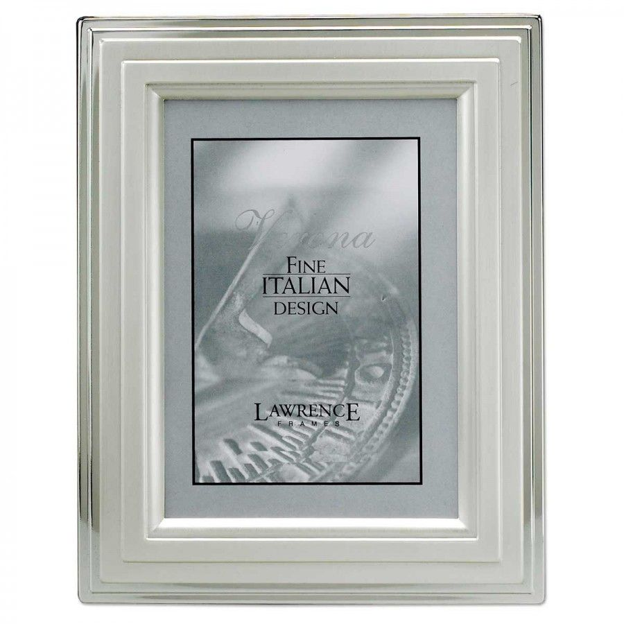 Lawrence Frames 5 X 7 Picture Frame With Stepped Border In Silver 720057 Lawrence Frames Metal Picture Frames Picture Frames