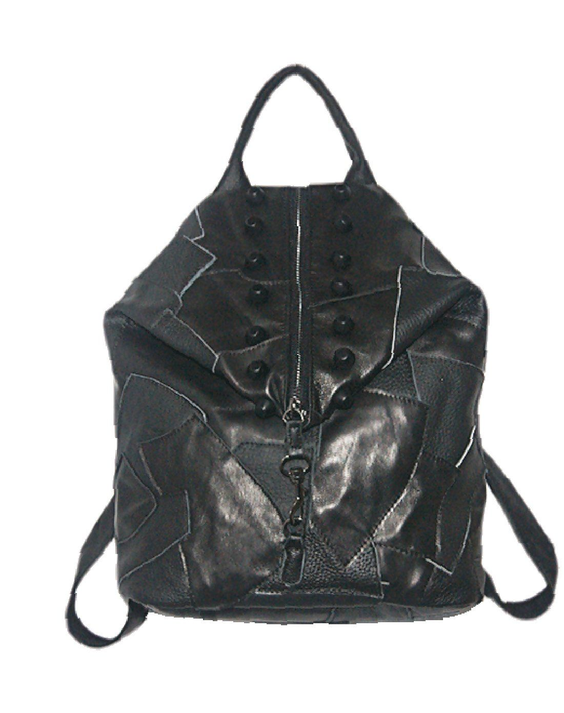 #AdoreWe #VIPme Backpacks - SVMONO Black Genuine Leather Splicing Doublebreasted Fashion Lady Backpack - AdoreWe.com