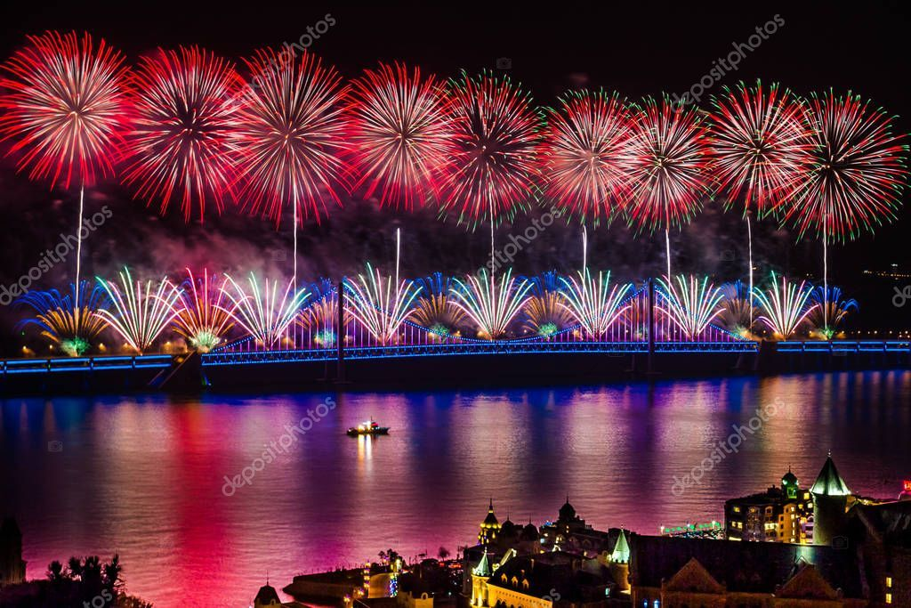 Bright Festive Fireworks Sky - Stock Photo ,